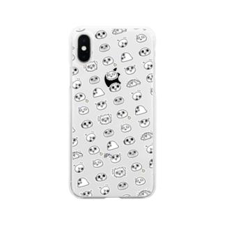 モチゾーパターン(白) Soft clear smartphone cases