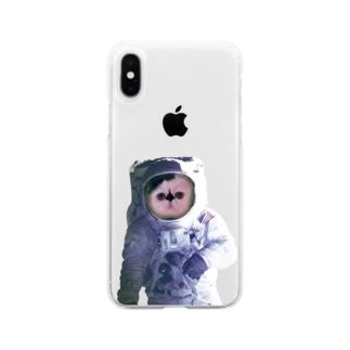 愛猫ボムは宇宙飛行士になった Soft clear smartphone cases
