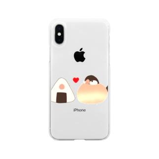 お文鳥&おにぎり(シナモンver.) Soft clear smartphone cases