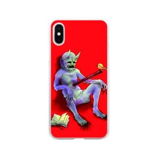 鬼を貫く棒に小鳥 Soft clear smartphone cases