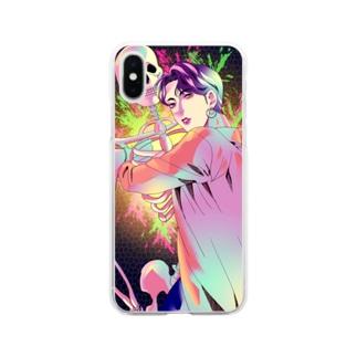 髑髏と美青年グッズ Soft clear smartphone cases