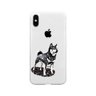 凛と (背景なし) Soft clear smartphone cases