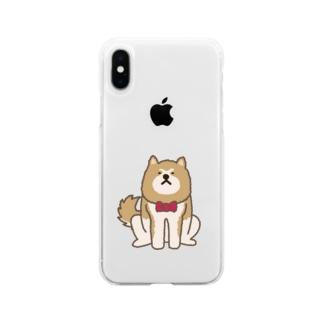 あっあっ秋田犬(ネクタイ) Soft Clear Smartphone Case