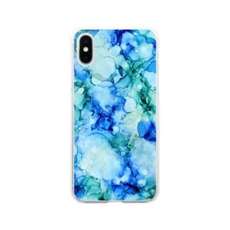 アルコールインクアート【水面】 Soft clear smartphone cases