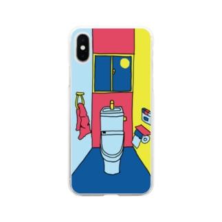 カラフルな一室のトイレ Soft clear smartphone cases