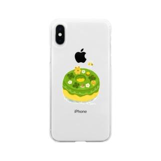 抹茶の原っぱシフォンケーキ Soft clear smartphone cases
