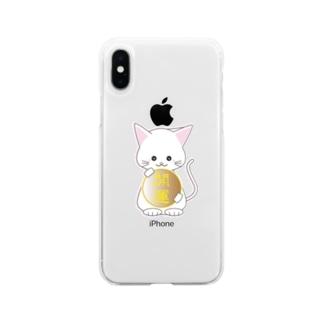 ☆開運!キュートな招き猫☆ Soft Clear Smartphone Case