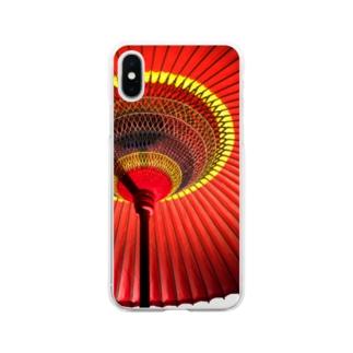 和傘(野点傘)柄のスマホケース Soft clear smartphone cases