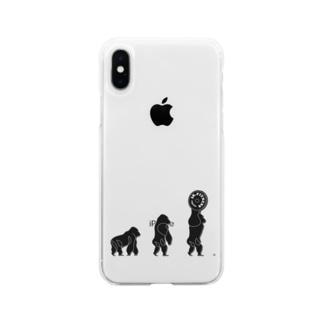 ゴリラの進化 Soft clear smartphone cases