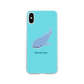 ジンベエザメ01 Soft clear smartphone cases