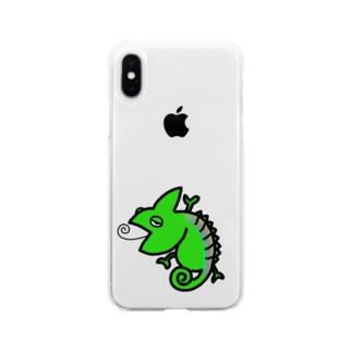 かめれおーん Soft clear smartphone cases