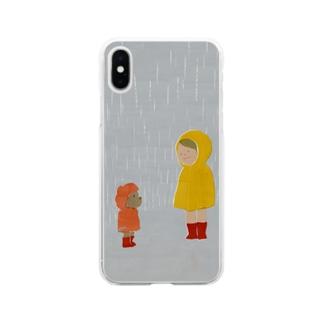 雨宿り Soft clear smartphone cases