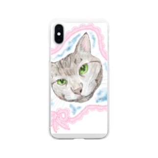 見つめるニャンコ Soft clear smartphone cases