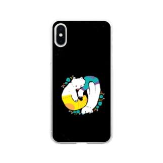 クマとクマはのんびり Soft clear smartphone cases