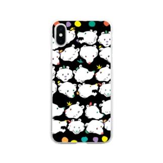 クマだらけ Soft clear smartphone cases