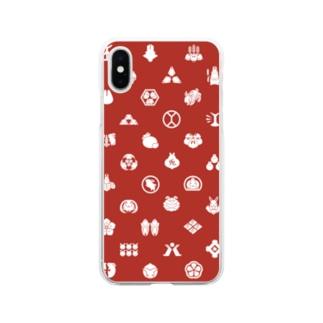 大賀一五の店のうさぎの家紋/赤 Soft clear smartphone cases