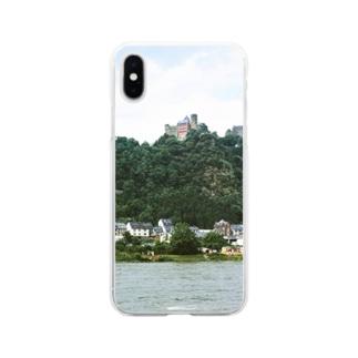 ドイツ:シェーンブルク城が見えるライン川の岸辺の風景写真 Germany: Schönburg am Rhein Soft clear smartphone cases