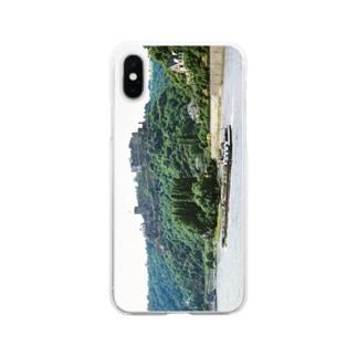 ドイツ:ラインフェルス城とライン川 Germany: Burg Rheinfels & river-tanker / Rhein Soft clear smartphone cases