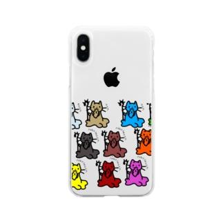ねこせんにん大集合! Soft clear smartphone cases
