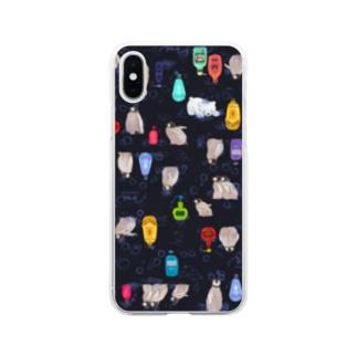 ボトルトペンギン(ブラック) Soft clear smartphone cases