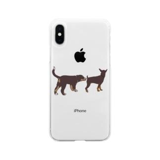 バーニーズ•マウンテン•ドッグのパピー Soft clear smartphone cases