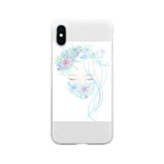 花マスク少女 Soft clear smartphone cases