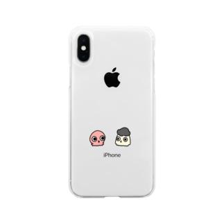 タコとアフロ頭のイカ Soft clear smartphone cases