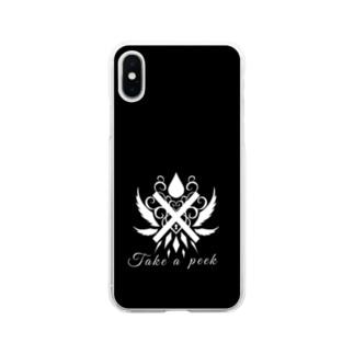 覗いて見て モノクロ2 Soft clear smartphone cases