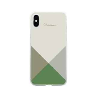 element88のシンプル/グリーン Soft Clear Smartphone Case