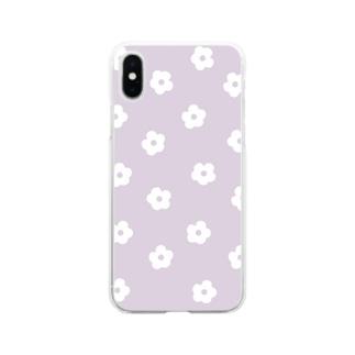 花柄/パープル Soft Clear Smartphone Case