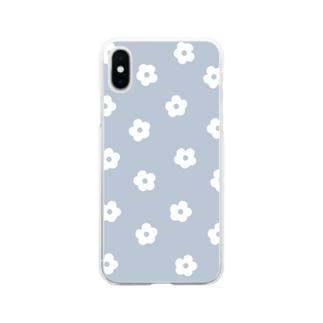 花柄/ブルー Soft Clear Smartphone Case