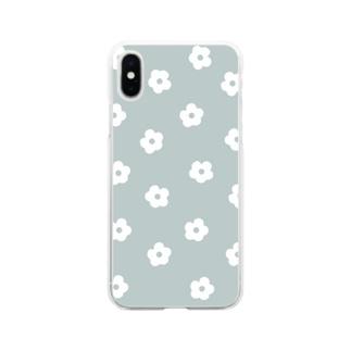 花柄/グリーン Soft Clear Smartphone Case