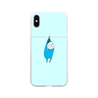 ねこタイツの洗濯 ライトブルー Soft clear smartphone cases