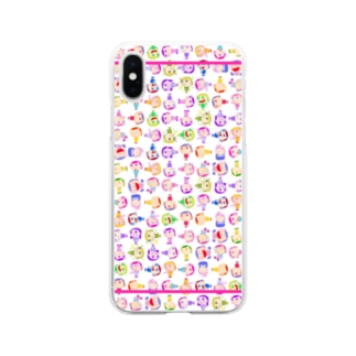 Charlieカラフル背景ホワイト Soft clear smartphone cases