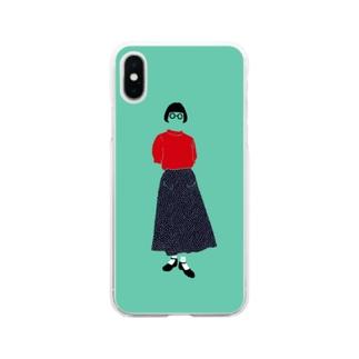 赤いサマーセーター Soft clear smartphone cases