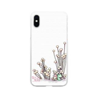 きのこと小人と時々カエル(えのき茸) Soft clear smartphone cases