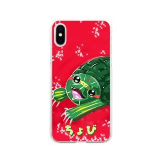 きらきら赤耳ちょび Soft clear smartphone cases