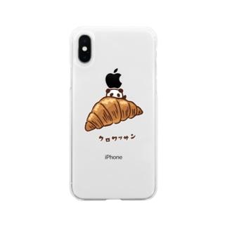 クロワッサンとパンダ Soft clear smartphone cases