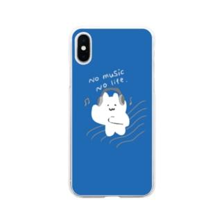 音楽ねこ Soft clear smartphone cases