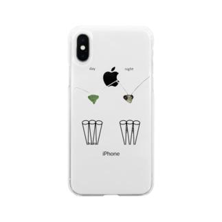 カマキリの昼と夜の複眼(英語、背景透過ver) Soft Clear Smartphone Case