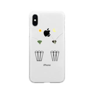カマキリの昼と夜の複眼(絵文字、背景透過ver) Soft Clear Smartphone Case