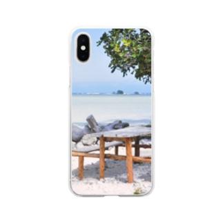 ミクロネシア:リーフが見える浜辺の風景 Micronesia: seaside of Pohnpei Soft clear smartphone cases