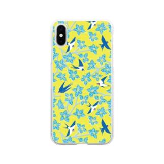 ツバメとミズキ イエロー Soft clear smartphone cases