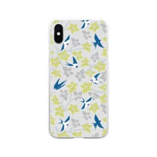 ツバメとミズキ グレー Soft clear smartphone cases