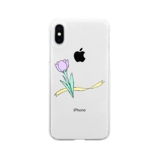 色のついたクロッカス Soft clear smartphone cases