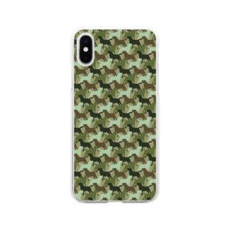 ラブラドール シルエット 迷彩柄 Soft clear smartphone cases