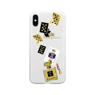 アンドアイデザイン 数秘&カラー🄬オマージュボトルNo8&GOLD Soft clear smartphone cases