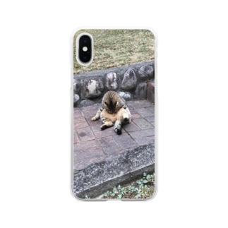 二つ折り猫 Soft clear smartphone cases