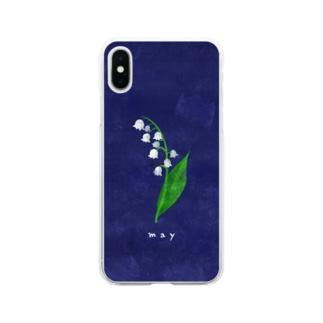 5月のスズラン Soft clear smartphone cases