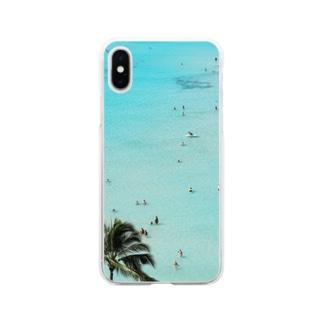 ワイキキビーチ縦 Soft clear smartphone cases